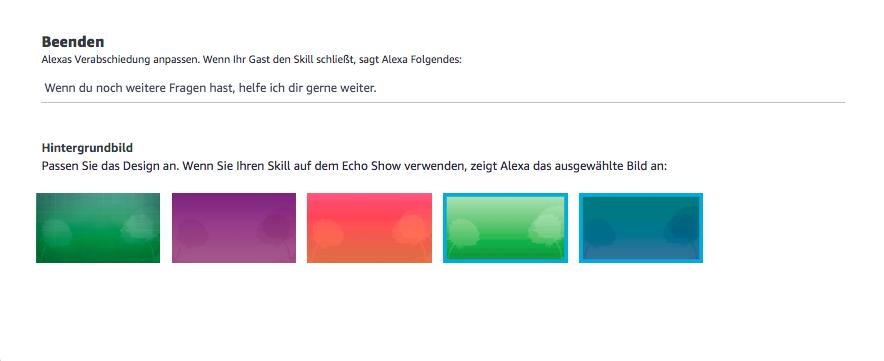 Alexa Blueprint Verabschiedungstext