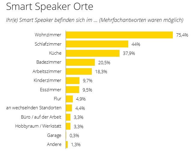 Orte an denen Smart Speaker platziert werden